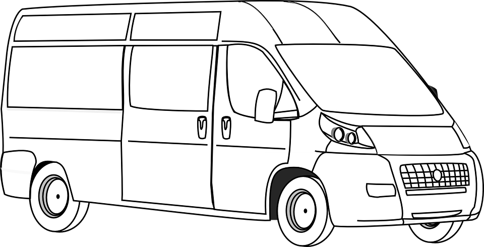 Minivan clipart black and white. Van png transparent images