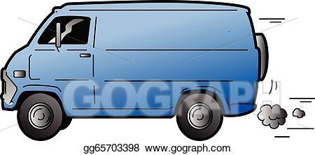 Minivan clipart blue minivan. Vector art cool van