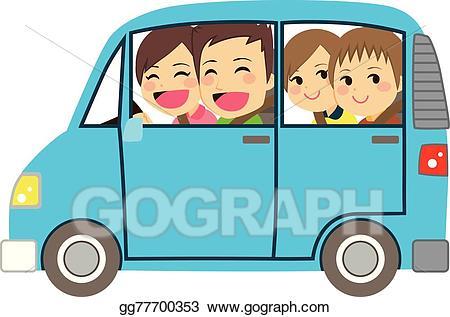 Vector stock happy family. Minivan clipart car cute