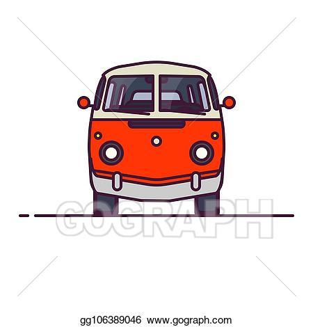 Minivan clipart car line. Vector illustration retro van