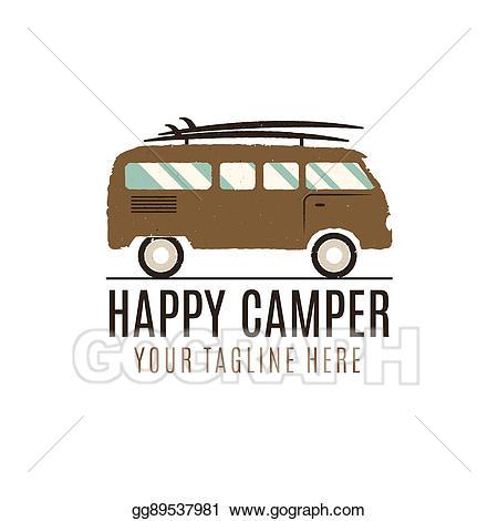 Happy camper logo design. Minivan clipart family adventure
