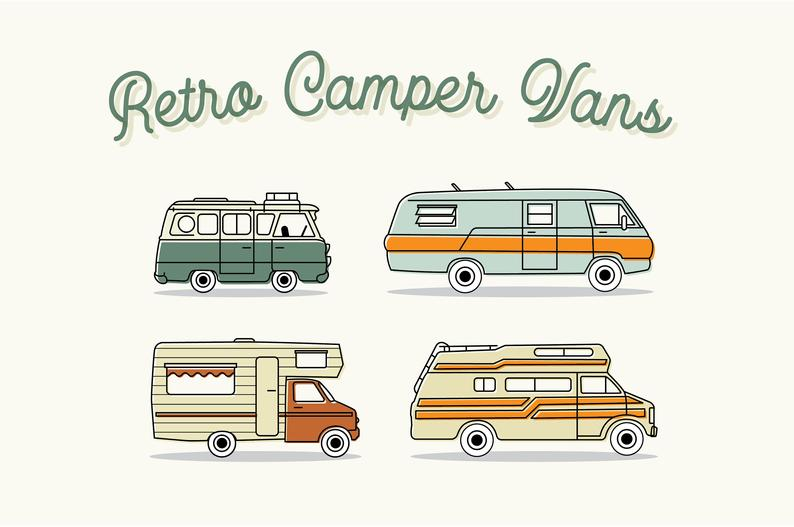 Minivan clipart family adventure. Retro campervan clip art