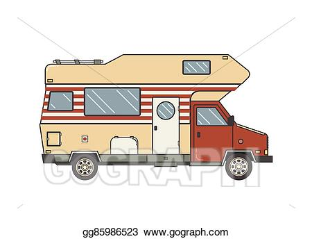 Vector stock camping trailer. Minivan clipart family camp