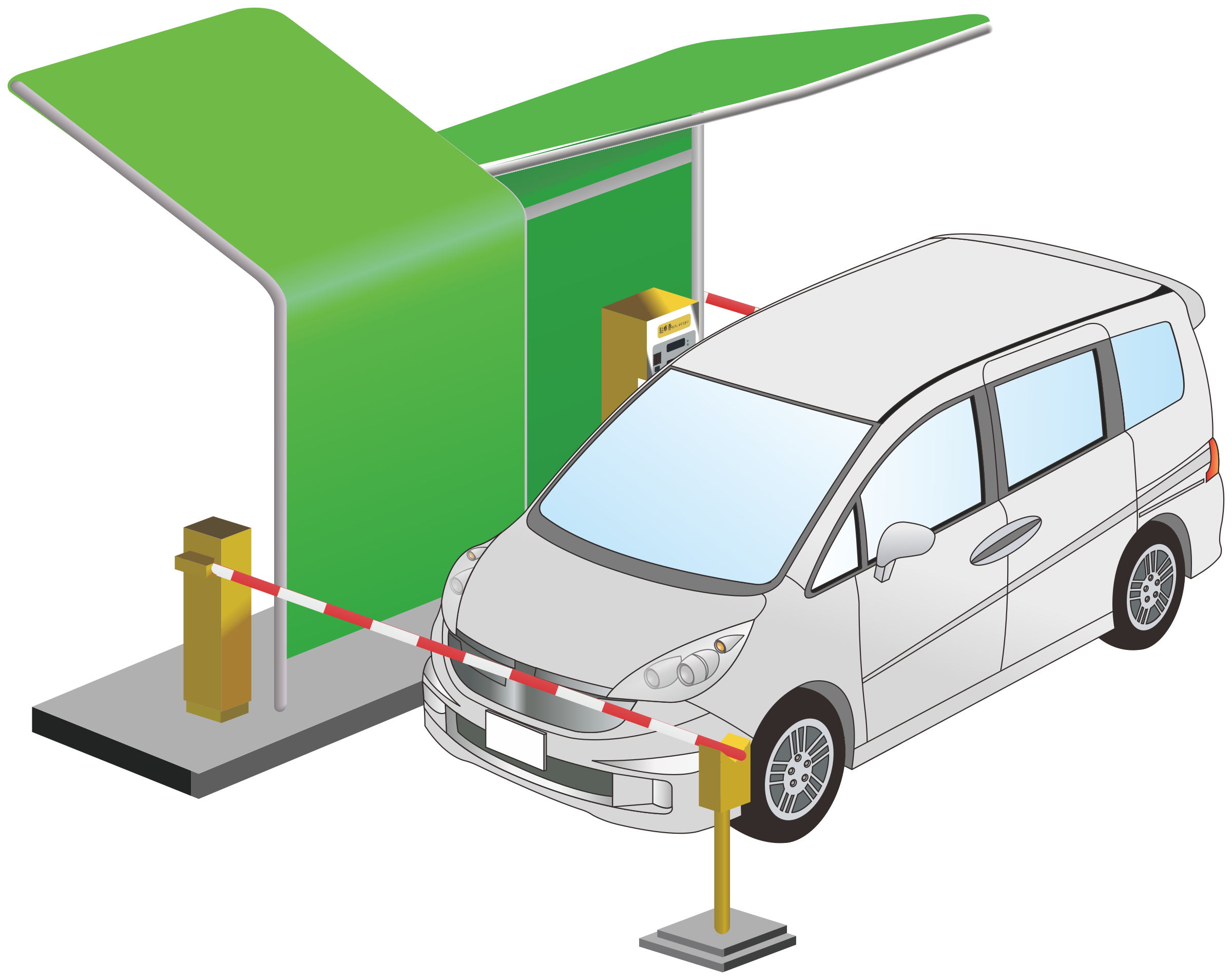 Parking system big image. Minivan clipart green car