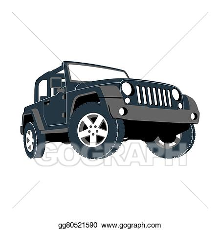 Minivan clipart red suv. Stock illustration convertible car