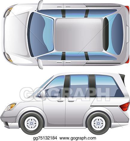 Vector art a drawing. Minivan clipart top view