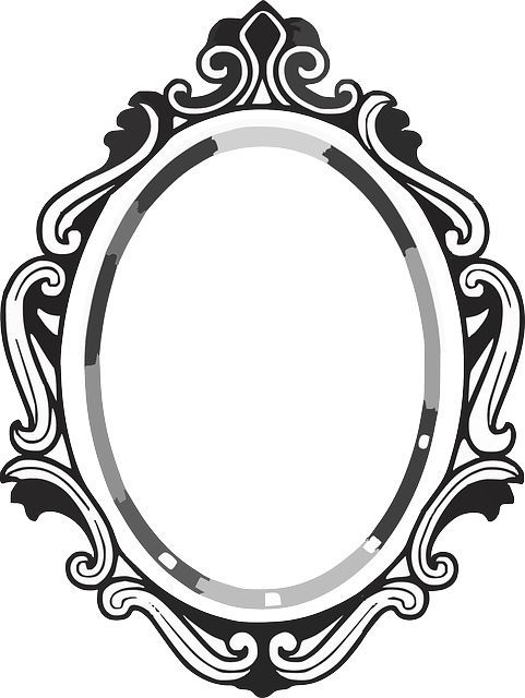 Line drawing frame panda. Mirror clipart
