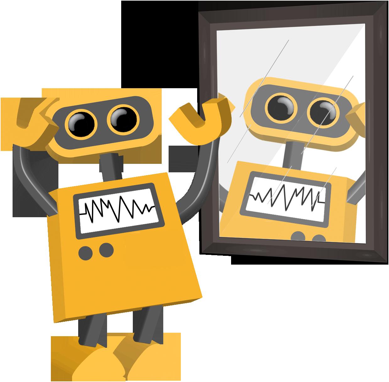 Mirror clipart animated. Tech cartoons tim robot