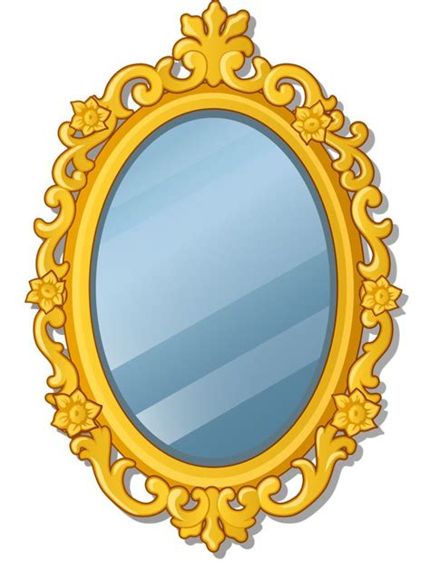 Mirror clipart cartoon. Icon style stock vector