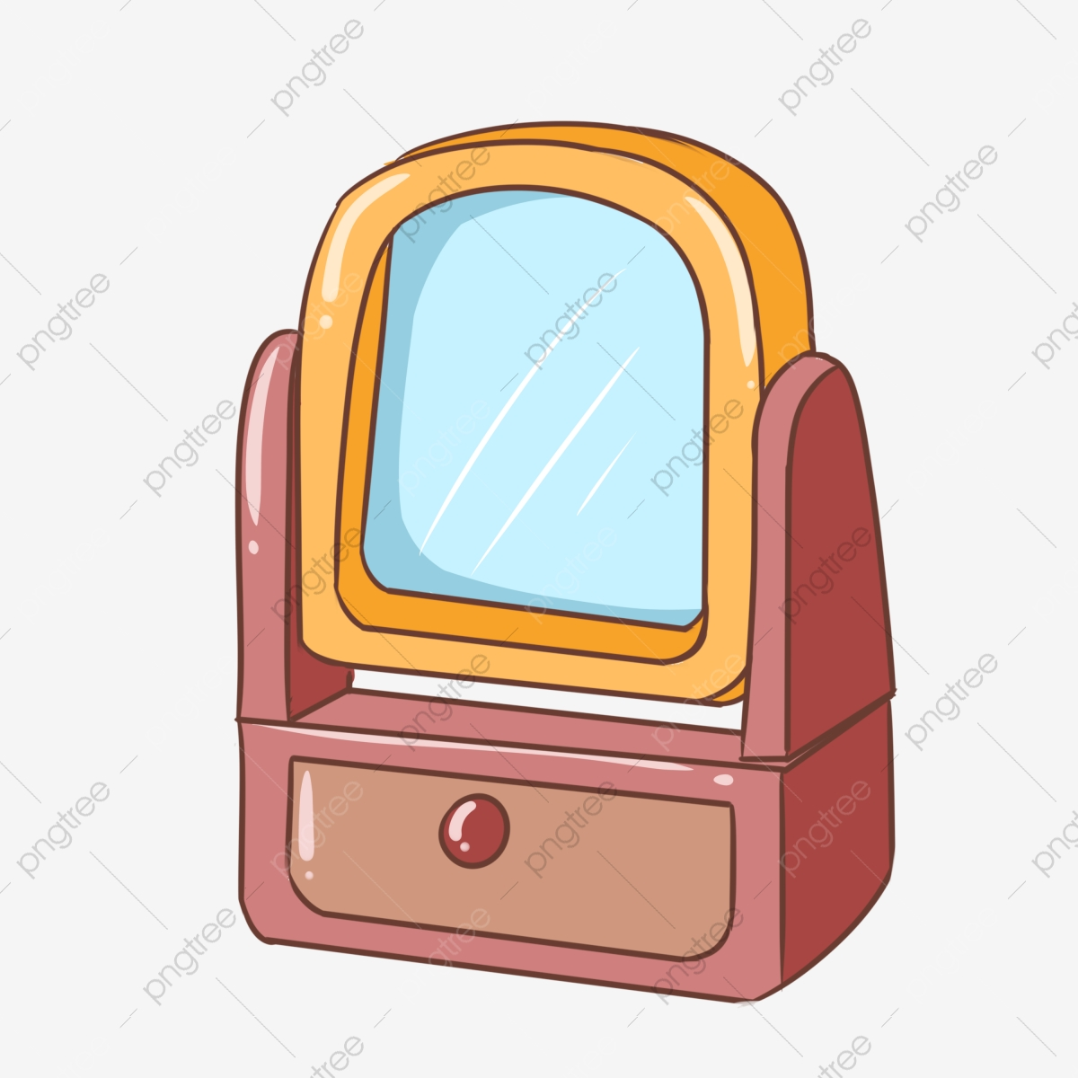 Mirror clipart cartoon. Dressing table drawer red