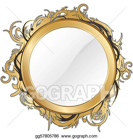 Mirror clipart gold mirror. Eps vector stock illustration