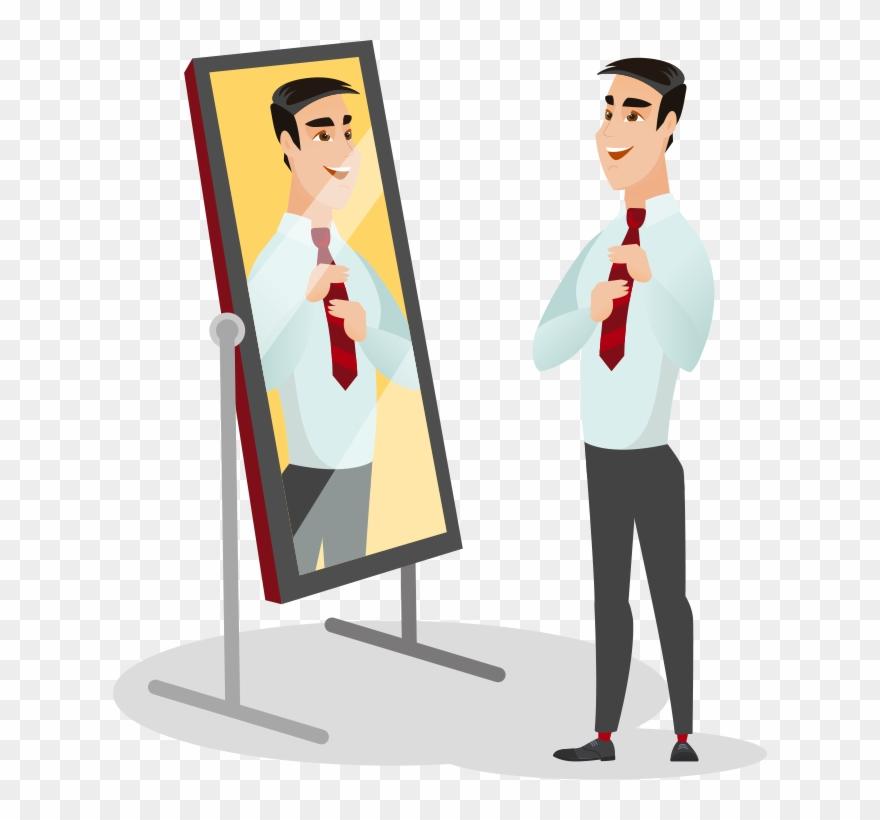 Man looking in illistration. Mirror clipart illustration