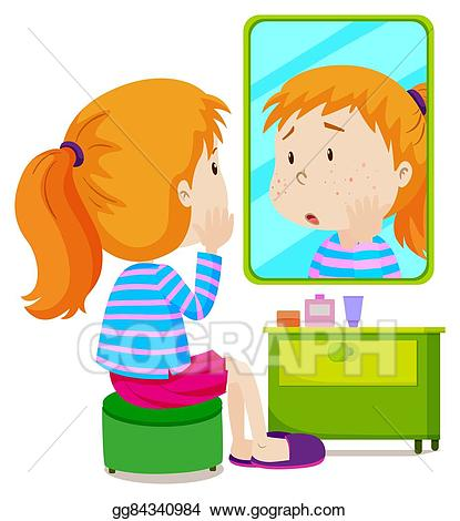 Mirror clipart illustration. Vector stock girl with