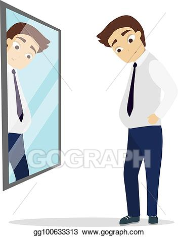 Mirror clipart illustration. Vector stock man looking