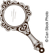 Vintage hand-held mirror isolated on white - stock photo | Vintage mirror  tattoo, Mirror tattoos, Hand mirror