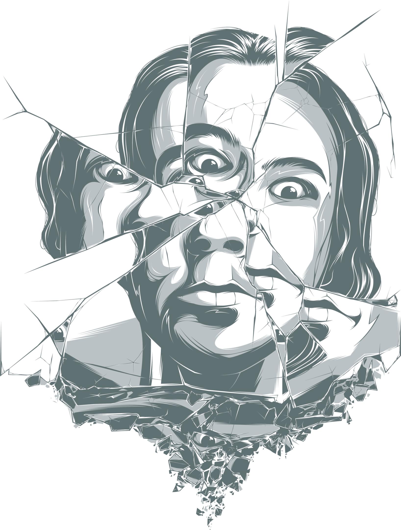 Mirror clipart personal reflection. Drawing art clip broken