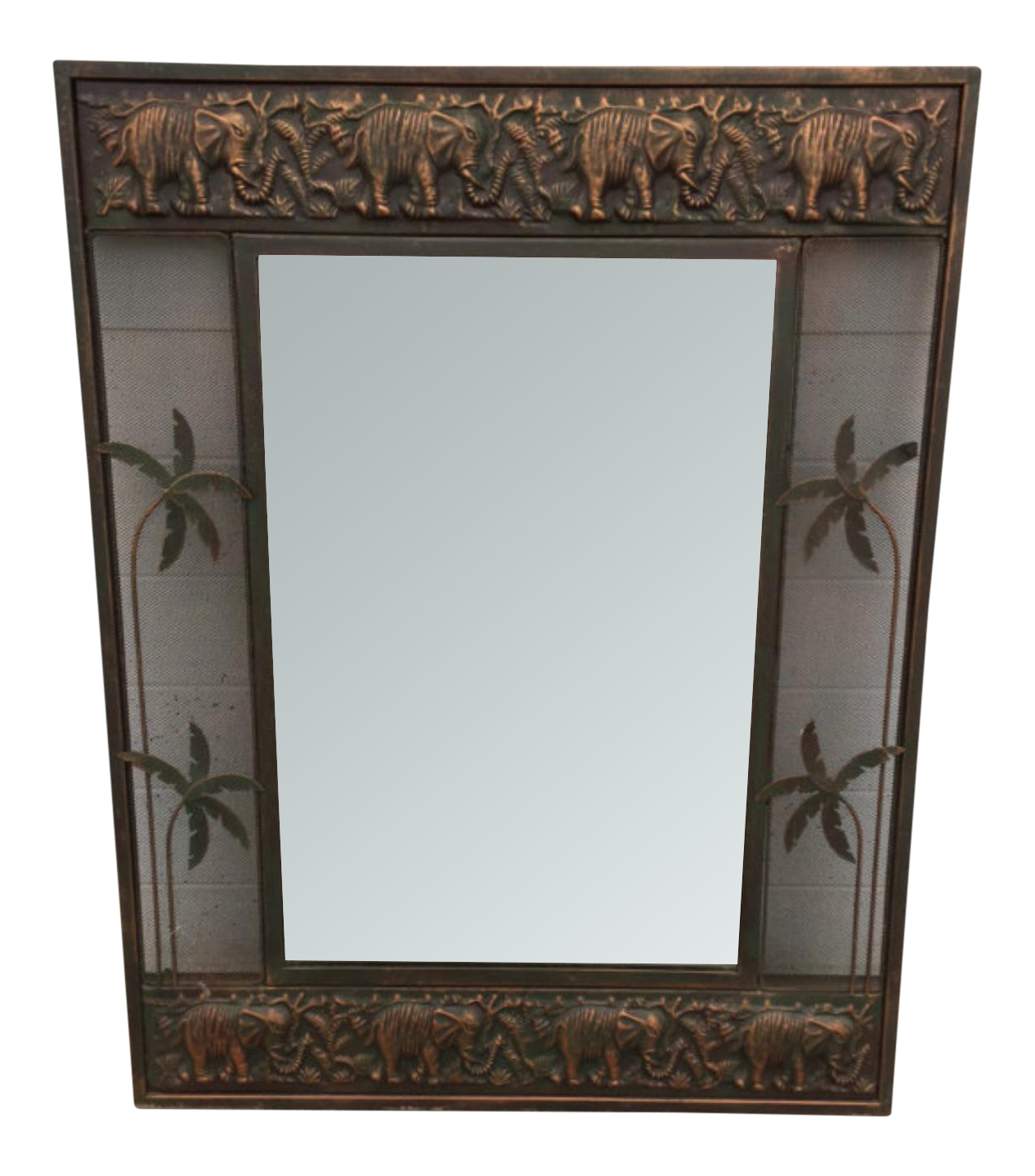 Elephant decorated metal wall. Mirror clipart rectangular mirror