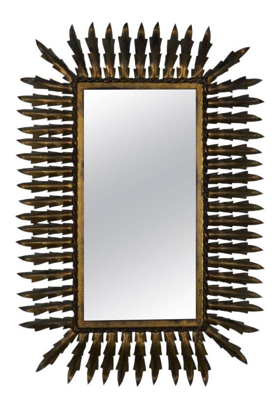 Spanish gilt metal sunburst. Mirror clipart rectangular mirror