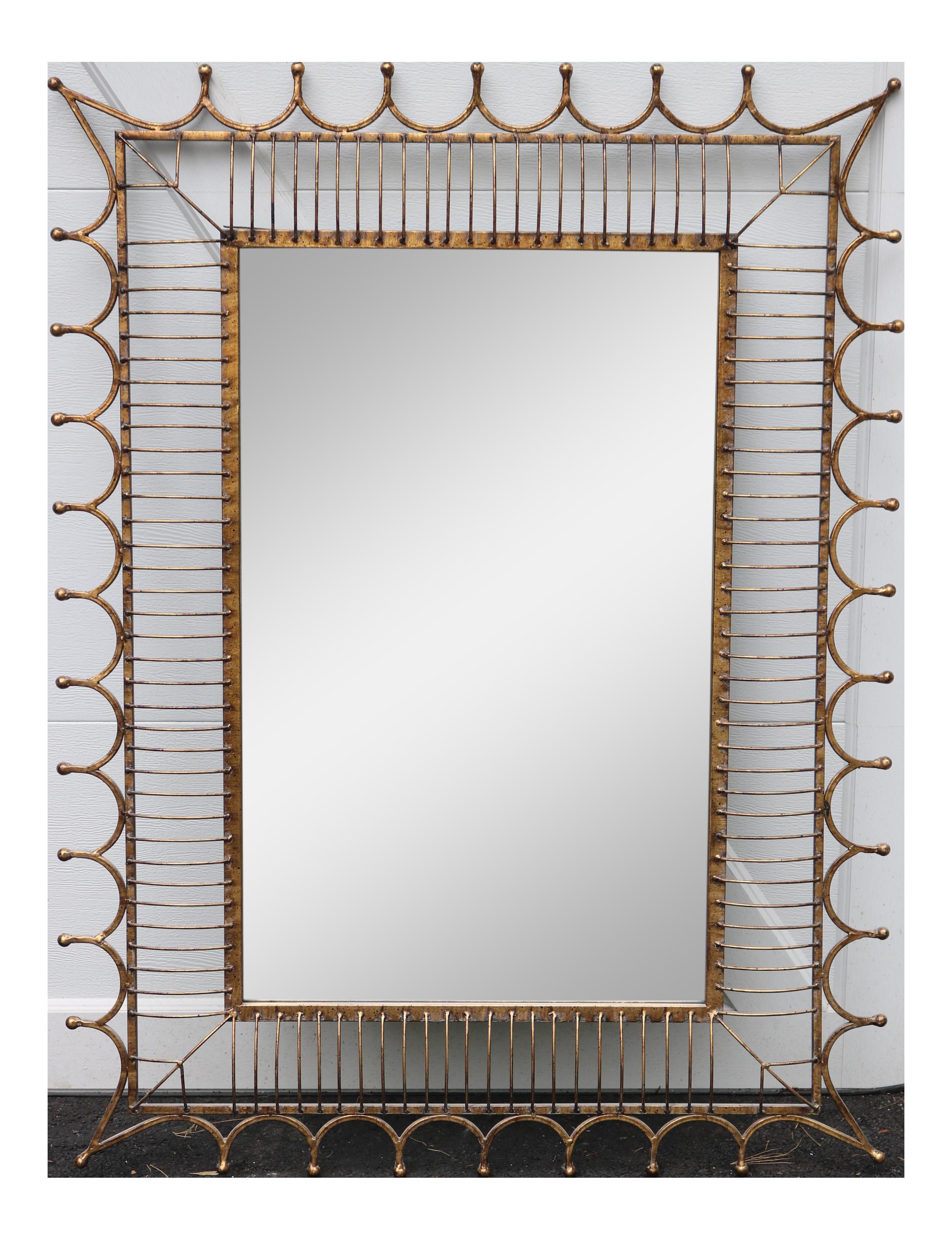 Mirror clipart rectangular mirror. Gold brass metal framed