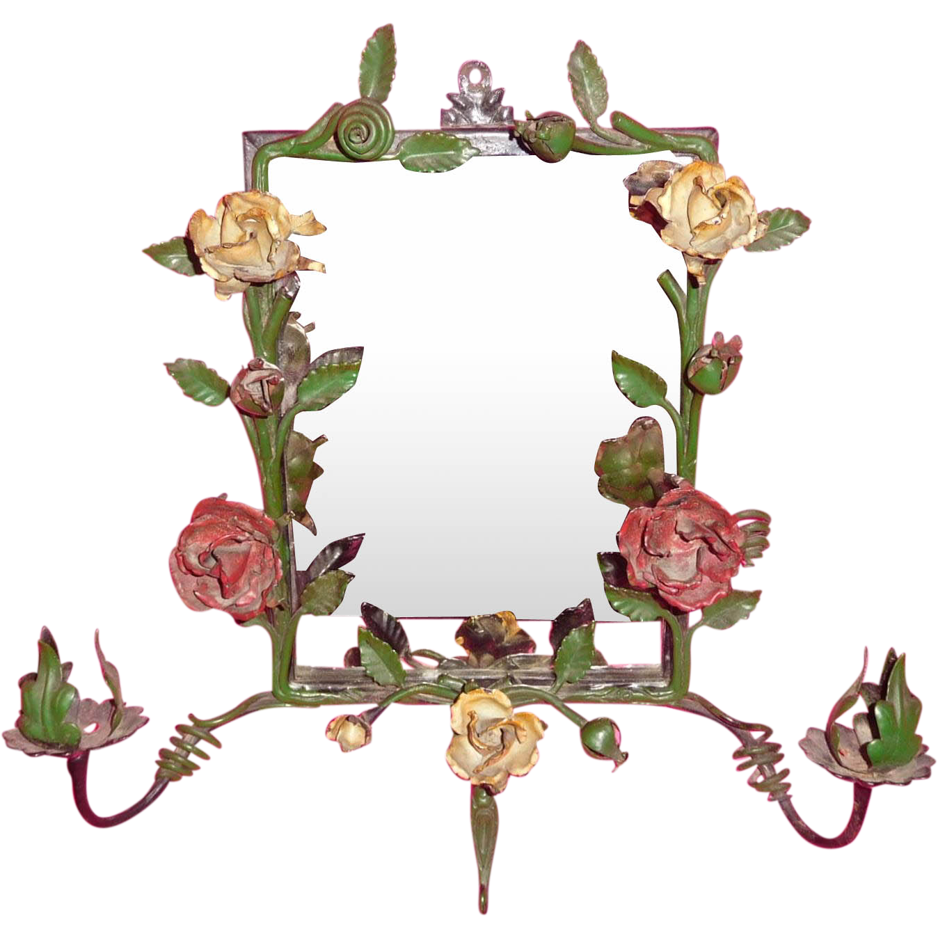 Mirror clipart wall mirror. Wrought iron roses sconce