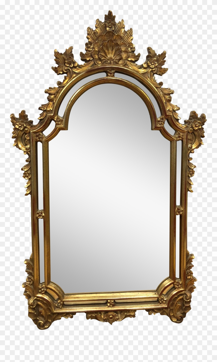 Mirror clipart wall mirror. Gold leaf pinclipart
