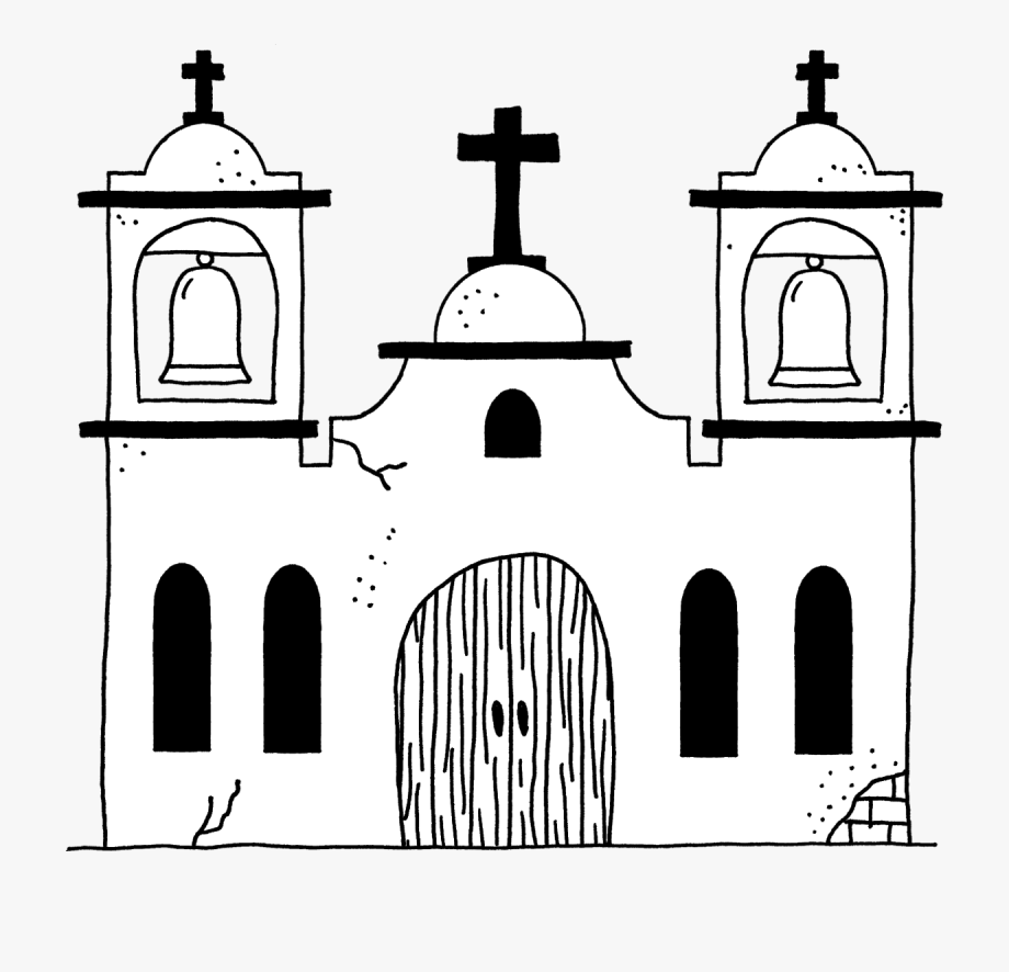 Missions clipart black and white. California mission free