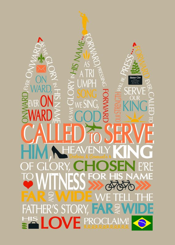 Printable art poster sister. Missionary clipart called to serve