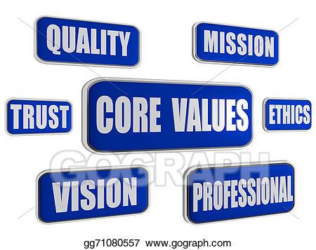 Missions clipart professional business. Core values blue concept
