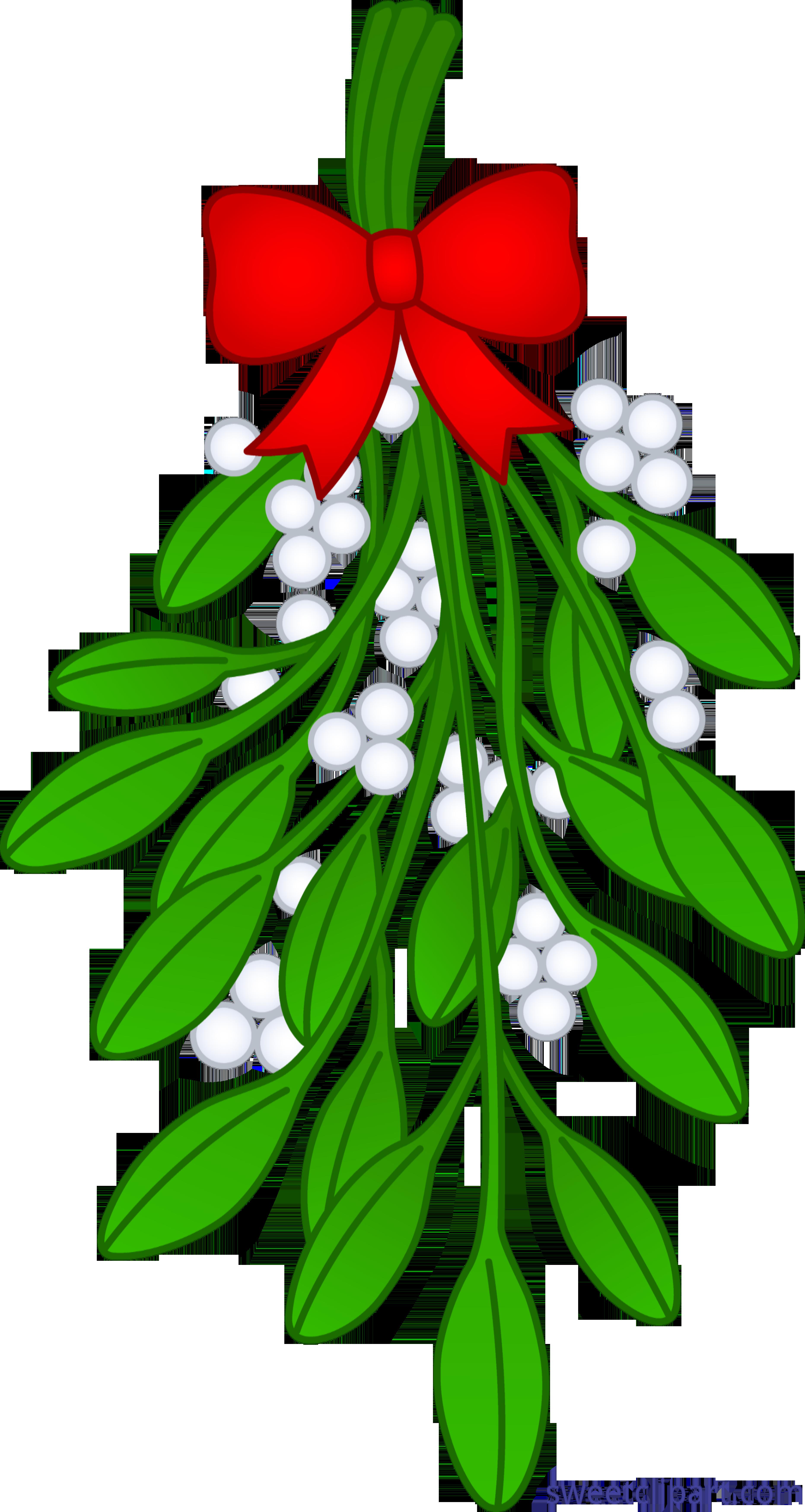 Christmas with ribbon sweet. Mistletoe clipart clip art