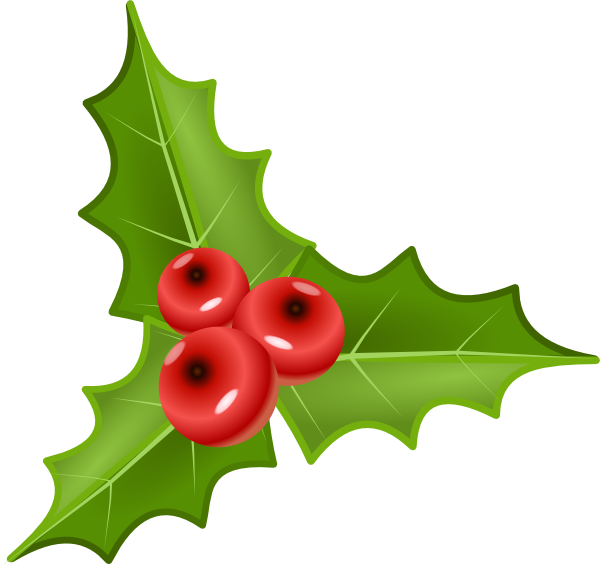 Holly with berries clip. Winter clipart berry