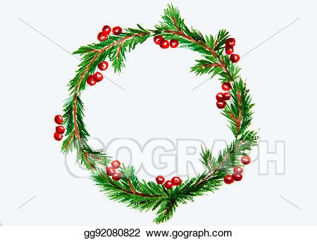 Mistletoe clipart small wreath. Stock illustrations new year