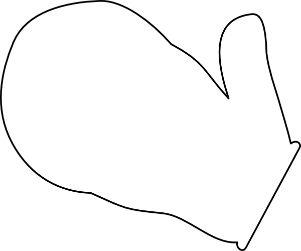 Mitten clip art black. Mittens clipart outline