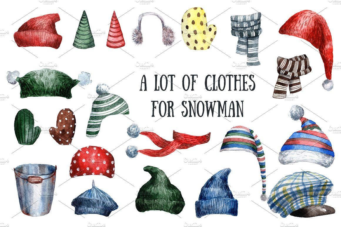 Mittens clipart cloth. Funny snowmen watercolor clip