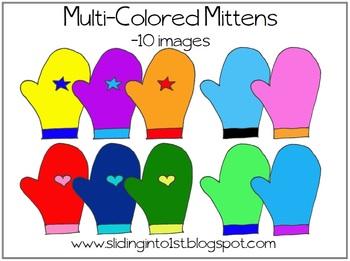 Mittens clipart colored. Multi color