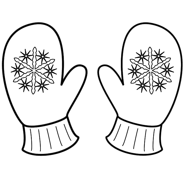 Mittens clipart coloring page. Hivern sunday school and