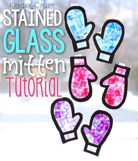 Stained glass mitten window. Mittens clipart construction paper