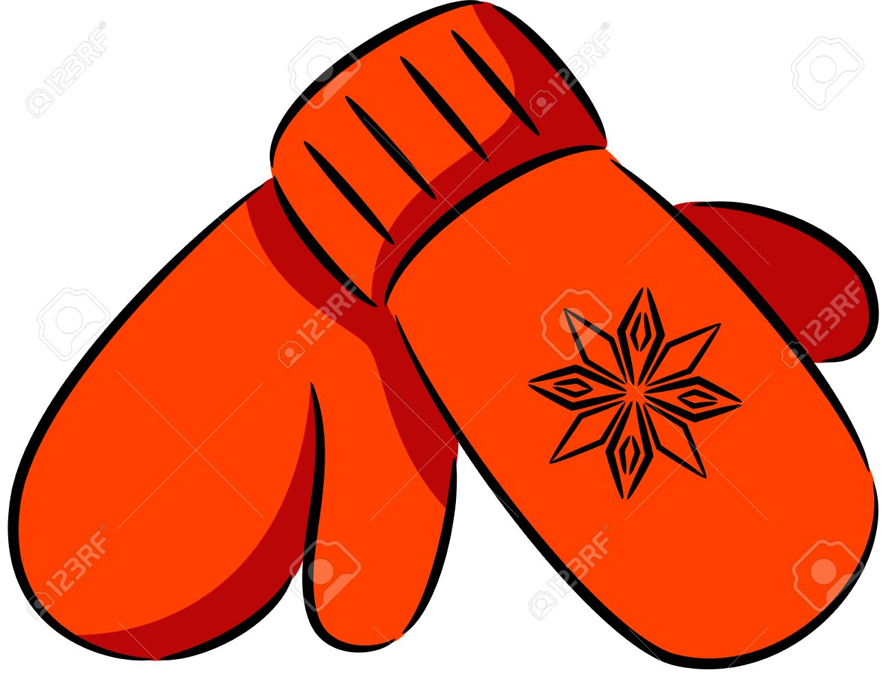 Mitten . Mittens clipart orange