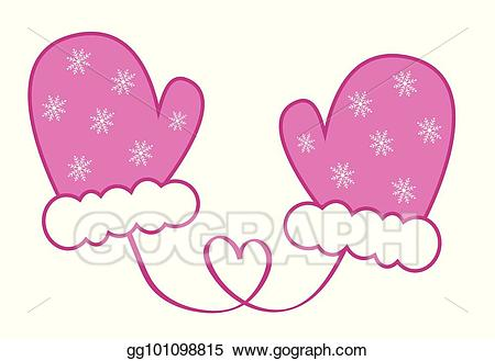 Mittens clipart pink. Eps vector snowflake stock