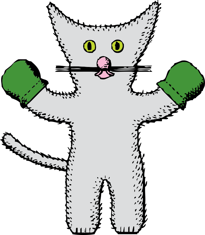 Kitten with medium image. Mittens clipart green