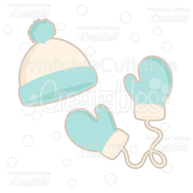 Winter hat free cutting. Mittens clipart svg