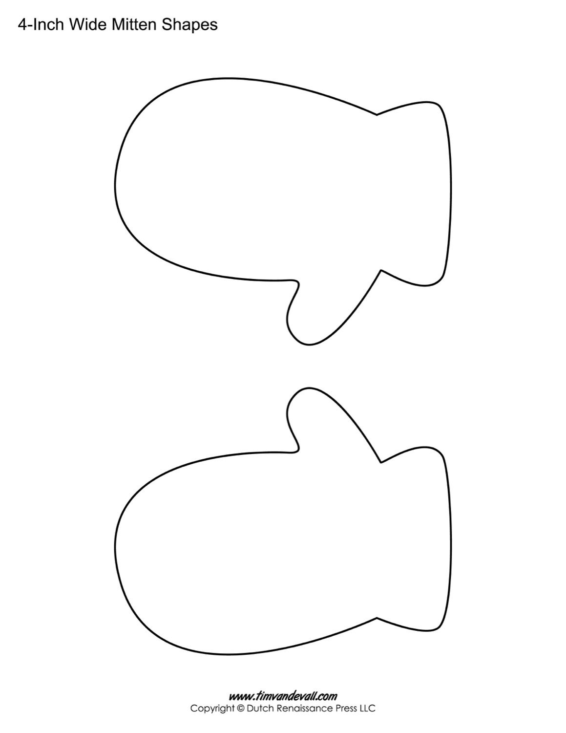 Printable mitten templates blank. Mittens clipart traceable