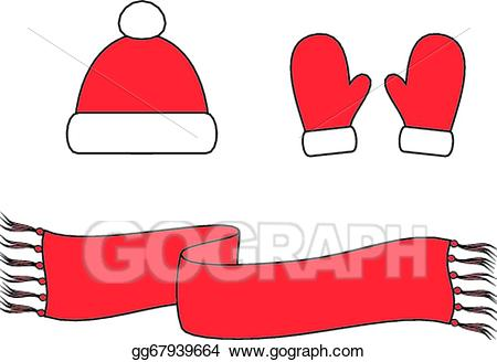 Vector illustration cap scarf. Mittens clipart accessory