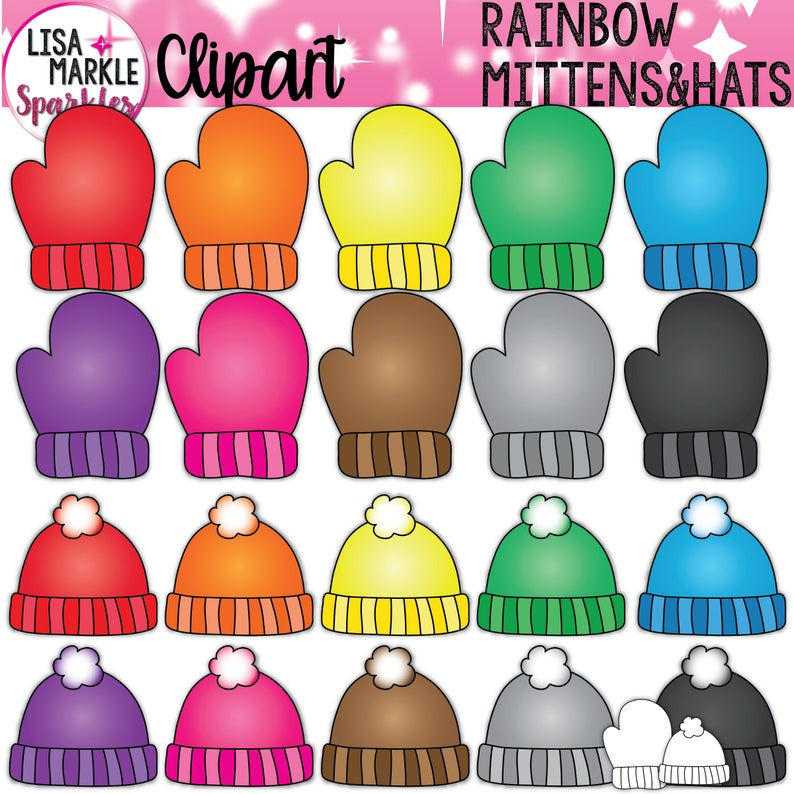 Rainbow winter and hats. Mittens clipart accessory