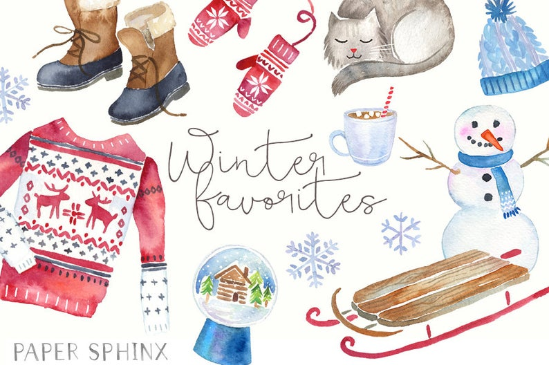 Watercolor winter holiday fashion. Mittens clipart boot