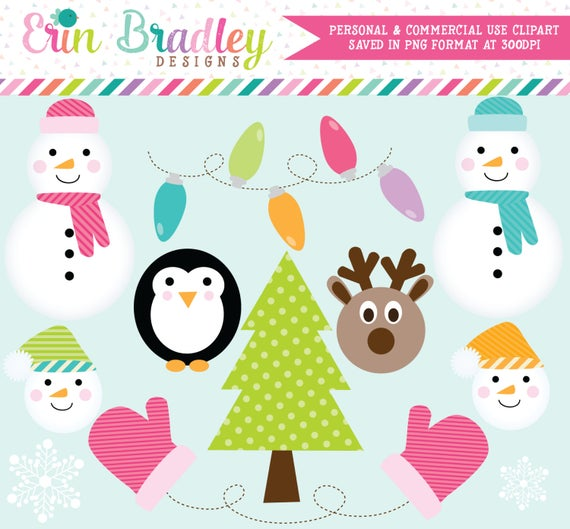 Snowman christmas tree lights. Mittens clipart holiday