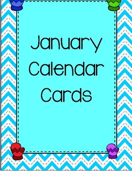 Calendar cards . Mittens clipart january