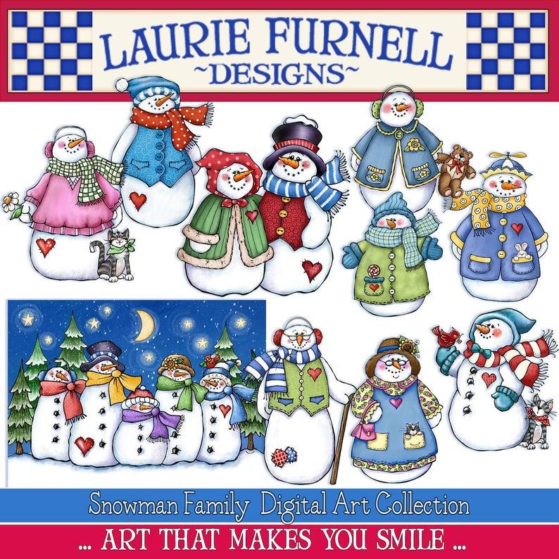 Snowman clip art family. Mittens clipart laurie