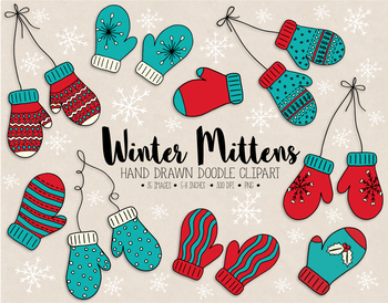 Mittens clipart mittons. Hand drawn nordic doodle