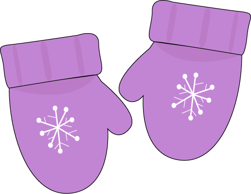 Printable magnets or scrap. Mittens clipart purple