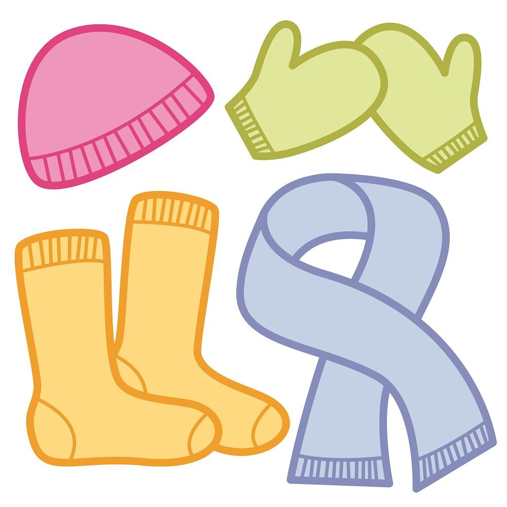 Winter clothing cap socks. Mittens clipart shoe